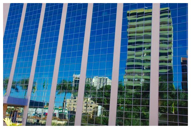 Reflections in glass covered skyscrappers