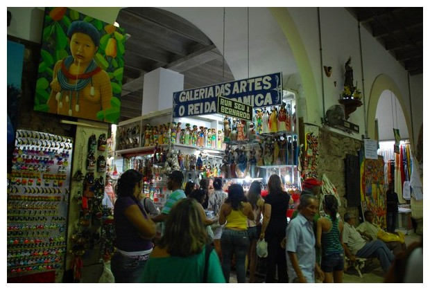Handicrafts and arts on sale in Mercado Modelo, Salvador, Brazil