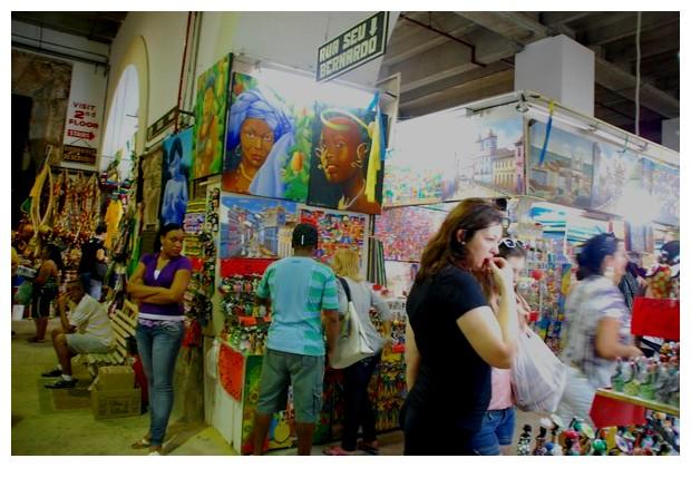 Handicrafts and arts on sale in Mercado Modelo, Salvador, Brazil