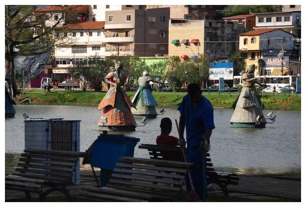 floating Orisha statues in Digue de Torrero lake in Salvador de Bahia