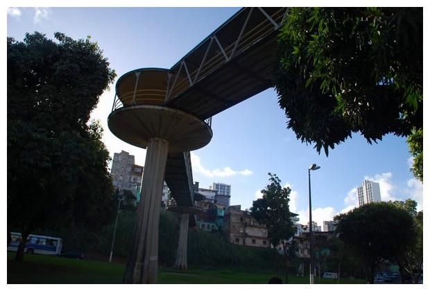 Foot bridges for road crossing in Salvador, Brazil