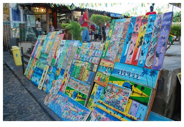Street shops selling paintings in Pelorinho, Salvador do Bahia, Brazil