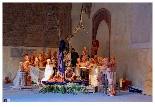 Christmas crib and float in municiple building in Bologna
