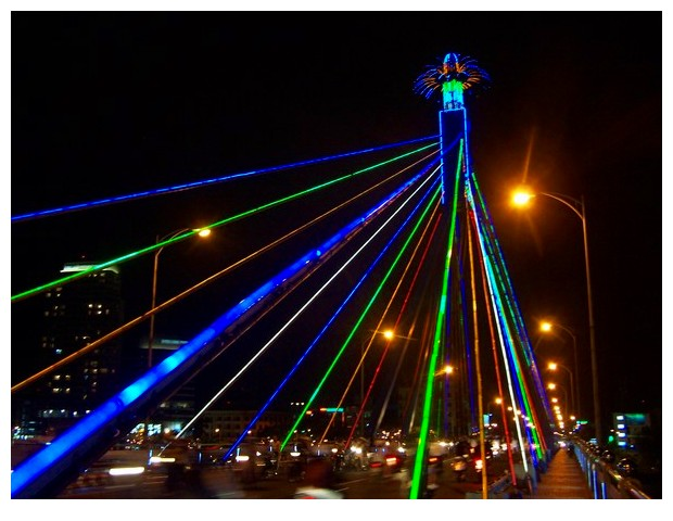Colourful lights on Han river, Danang, Vietnam