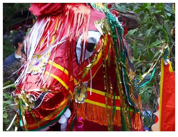 Vietnam - paper elephant, horse and dragon offered to ancestors in buddhist temple
