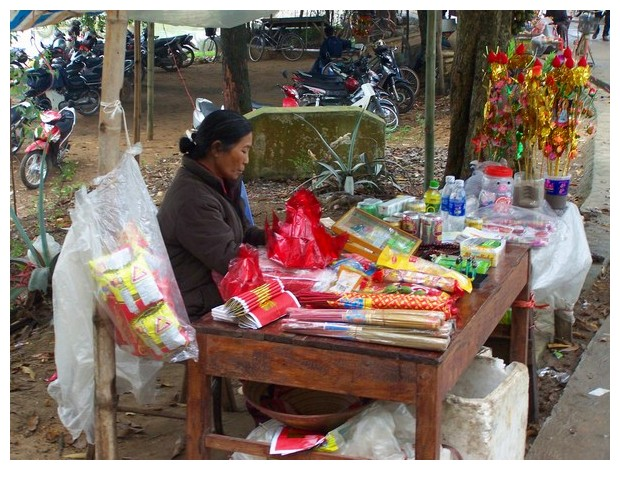 Shops outside Buddhist temples, Than Ba, Vietnam
