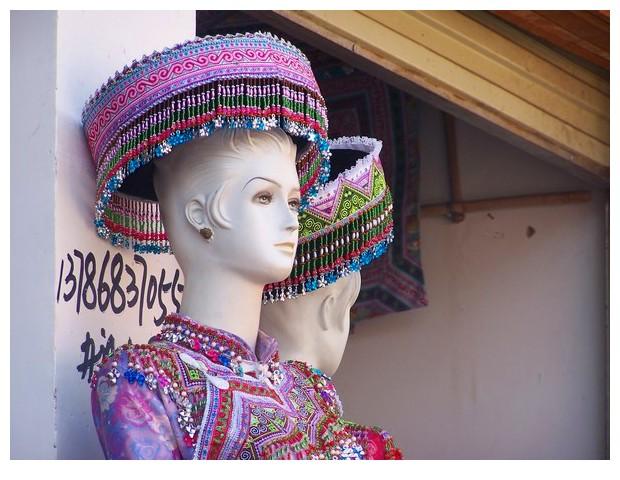 Miao traditional dress shops, Wenshan, Yunnan, China