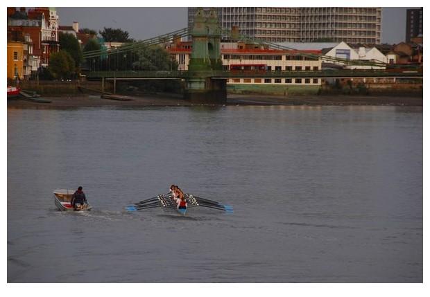 Girls rowing on themes, Hammersmith London