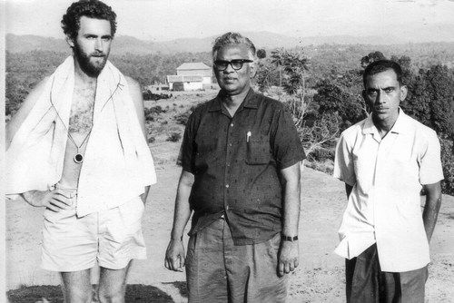 Tom Cowen, Pattabhi Reddy & Srinivas Rao during shooting of Samskara, 1970