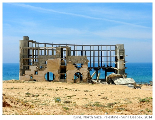Bombed buildings, Gaza, Palestine - images by Sunil Deepak, 2014