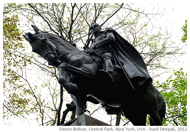 Simon Bolivar statue, central park, New York, USA - images by Sunil Deepak, 2014