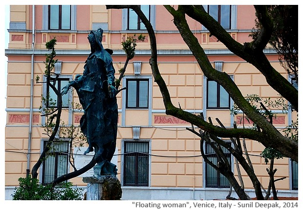 Sculpture, woman, Venice railway station, Italy - images by Sunil Deepak, 2014