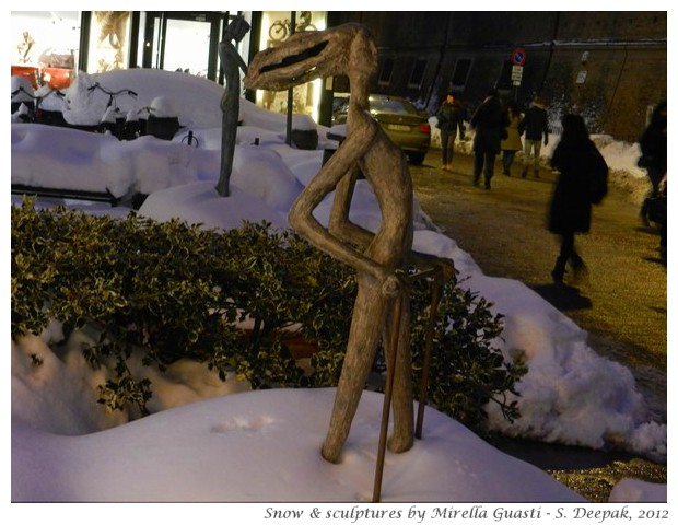 Sculptures by Mirella Guasti and snow in Bologna - S. Deepak, 2012