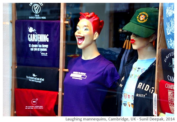 Laughing mannequins, Cambridge UK - images by Sunil Deepak, 2014