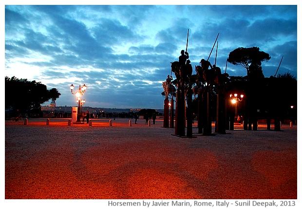 Horsemen by Javier Marin, Picio, Rome, Italy - images by Sunil Deepak, 2013