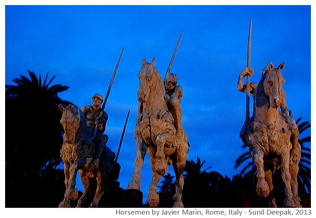 Horsemen by Javier Marin, Picio, Rome, Italy - images by Sunil Deepak, 2013
