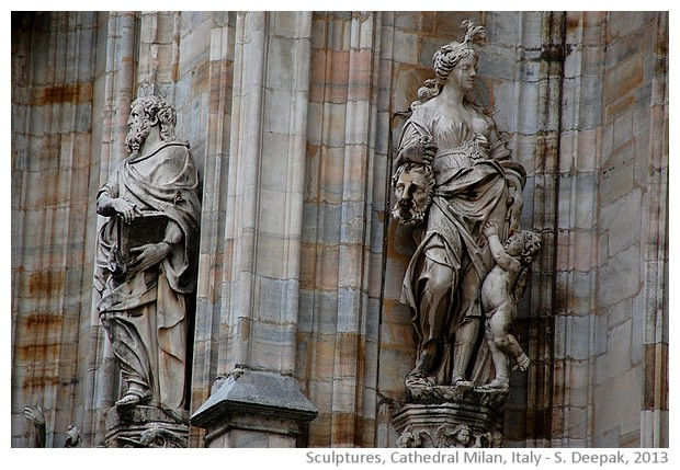 Medieval violent sculptures, Cathedral, Milan Italy - S. Deepak, 2013