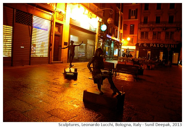 Sculptures of Leonardo Lucchi, Via 4 nov, Bologna, Italy - images by Sunil Deepak, 2013