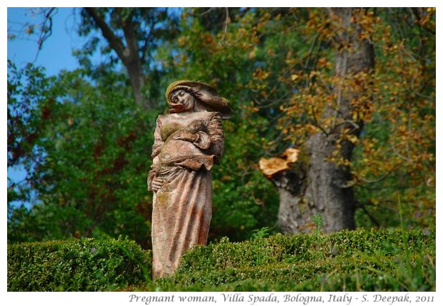 Pregnant woman, terracotta statue, Villa Spada, Bologna, Italy - S. Deepak, 2011