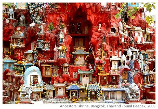 Strange spirit house shrine Bangkok, Thailand - images by Sunil Deepak, 2013
