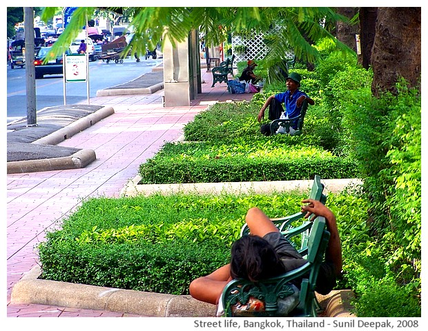 Street people, Bangkok, Thailand - images by Sunil Deepak, 2008