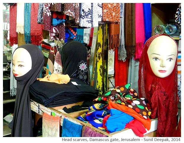 Head scarves, Jerusalem, Israel - images by Sunil Deepak, 2014