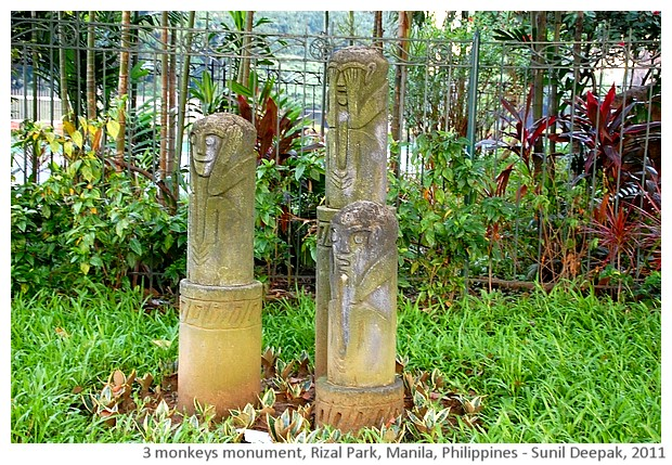 Gandhi's 3 monkeys, Rizal park, Manila, Philippines - images by Sunil Deepak, 2011