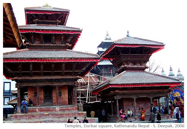 Temples, Durbar square, Kathmandu, Nepal - images by Sunil Deepak, 2006