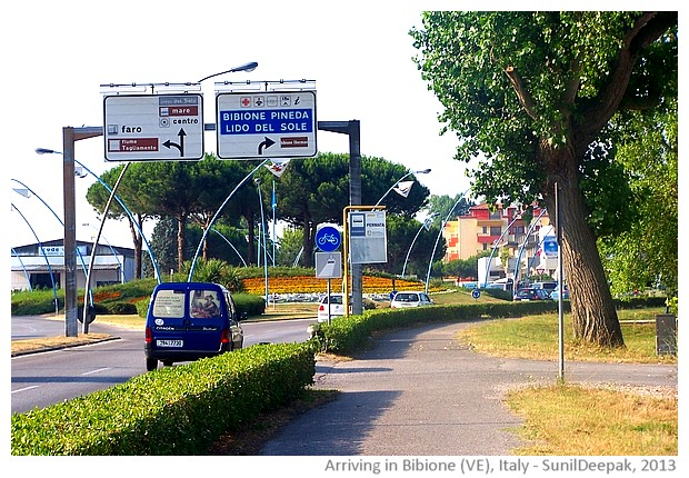 Bibione entrance, Veneto region, Italy - images by Sunil Deepak, 2013