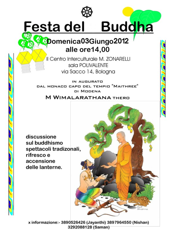 Locandina Festa Buddhista, associazione Sri Lanka di Bologna