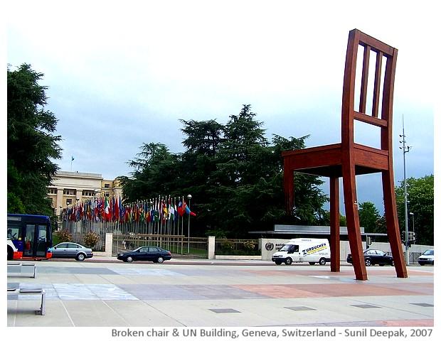 Geneva - broken chair and Placa of Nations