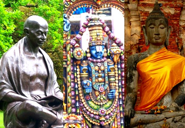 Great humans and bad family persons - Gandhi, Buddha, Ram, collage by Sunil Deepak, 2014