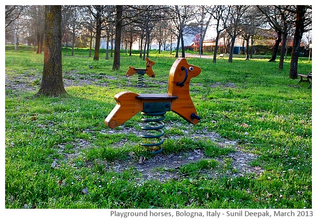 Wood horses in the park, Bologna, Italy - images by Sunil Deepak, 2013