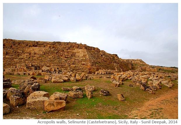 Acropolis walls, Selinunte, Castelvetrano, Sicily, Italy - images by Sunil Deepak, 2014