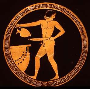 Ancient greek vase with homoerotic image