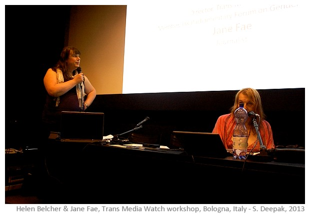 Helen Belcher and Jane Fae in Bologna workshop, image by Sunil Deepak, 2013