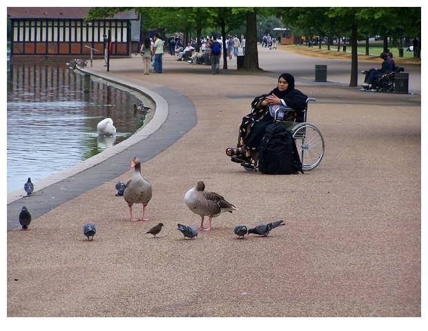 Muslim woman on wheel chair, London