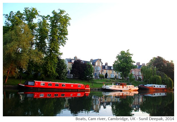 Boats, Cam river, Cambridge, UK - images by Sunil Deepak, 2014