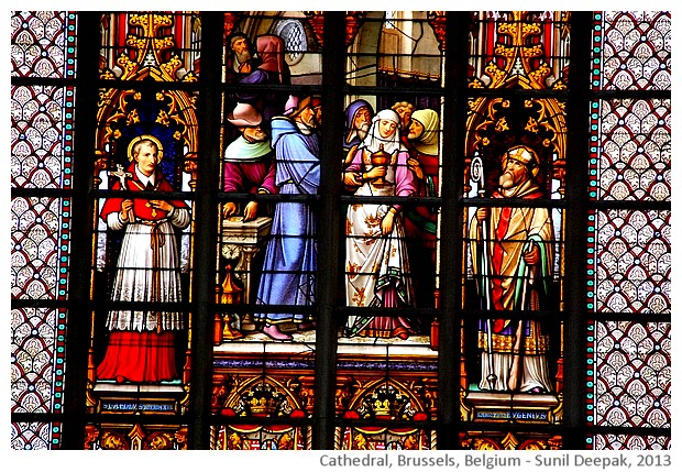 Stained glass windows, cathedral, Brussels, Belgium - images by Sunil Deepak, 2013