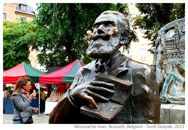 Man with moustache, Brussels, Belgium - images by Sunil Deepak, 2013