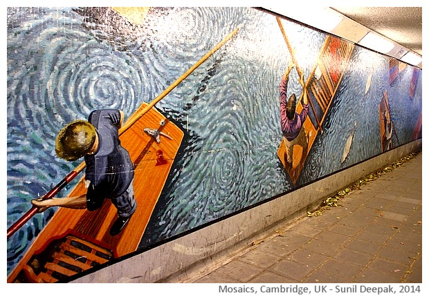 Mosaic art - boats, Cambridge, UK - images by Sunil Deepak, 2014