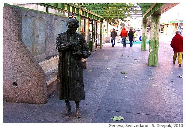 Woman at bus stop statue, Geneva, Switzerland - S. Deepak, 2010
