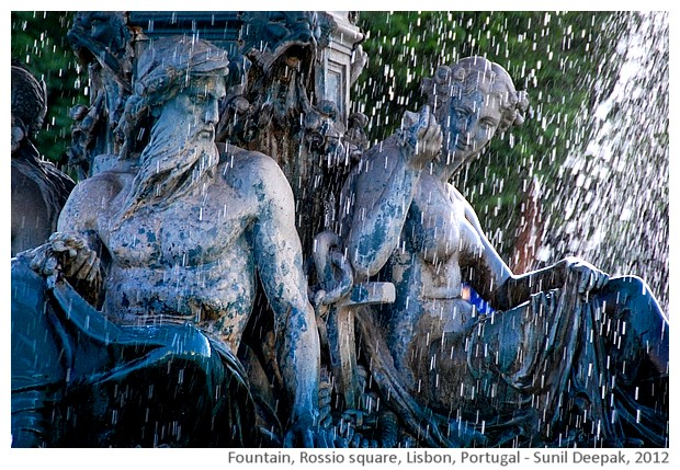 Fountain, Rossio square, Lisbon, Portugal - images by Sunil Deepak, 2013