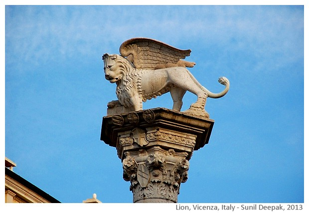 Venetian lion, Vicenza, Italy - images by Sunil Deepak, 2013