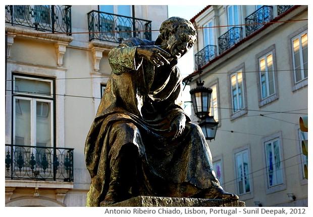 Antonio Ribeiro Chiado monument, Lisbon, Portugal - images by Sunil Deepak, 2012