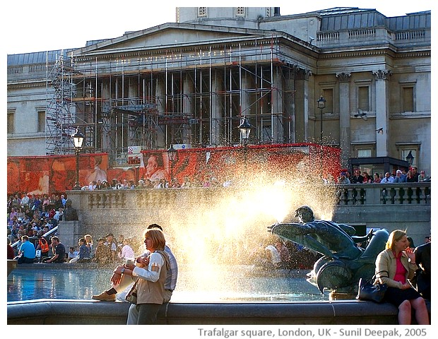 Trafalgar square, London, UK - images by Sunil Deepak, 2005