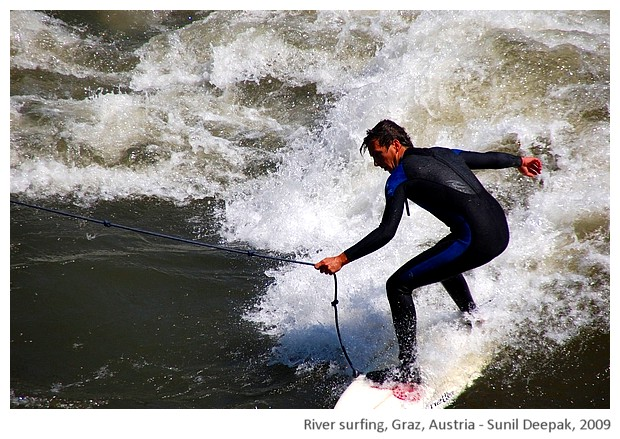 River surfing, Graz, Austria - images by Sunil Deepak, 2009