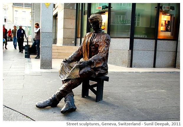 Street sculptures, Geneva, Switzerland - images by Sunil Deepak, 2011