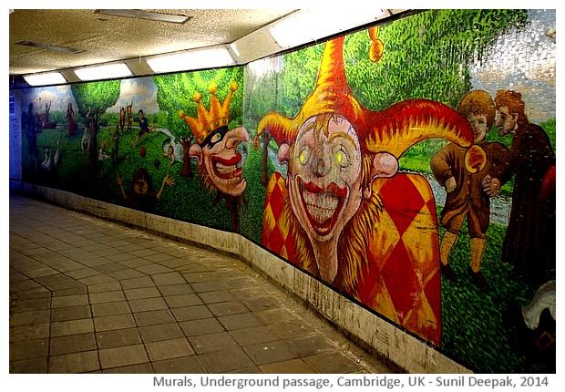 Murals, underground passage, Cambridge, UK - images by Sunil Deepak, 2014