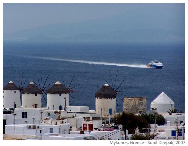 Windmills, Mykonos, Greece - images by Sunil Deepak, 2007